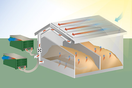 Air-solar collectors for the drying of cereals